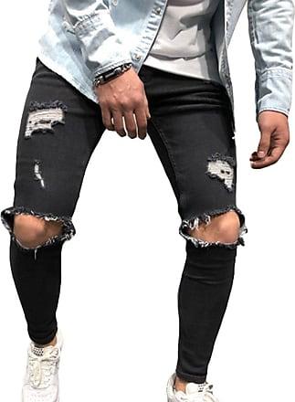 junkai Mens Stretchable Denim Skinny Fit Denim Pants Destroyed Frayed Stretch Ripped Knee Jeans Black L