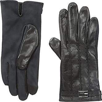 Adrienne Vittadini Womens Perforated Leather Touchscreen Gloves, Black Medium