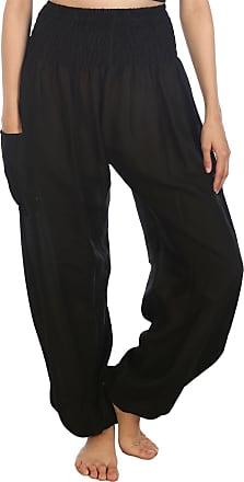 Lofbaz Womens Rayon Print Smocked Waist Boho Harem Pants Solid Black S