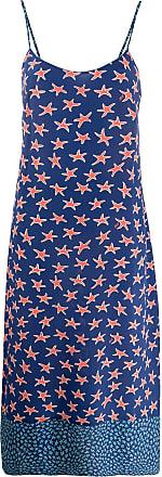 HVN Vestido reto com estampa de estrelas do mar - Azul