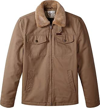WenVen Mens Sherpa Collar Warm Quiltd Lined Full Zip Jacket with Mulit Pockets Khaki Medium