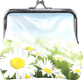 Art Daisy Flower Camomile Leather Womens Zipper Wallets Clutch Coin Case