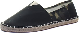 Dunlop Mens Camo Espadrilles Flat Slip On Canvas Pumps Alpargatas Summer Trainer (12 UK, Black)