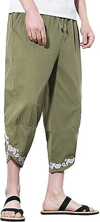 ZYUEER Mens Pants Yoga Harem Pants Mens Embroidered Linen Loose Wide Leg Pants Cropped Trousers Daily Summer Autumn Army Green