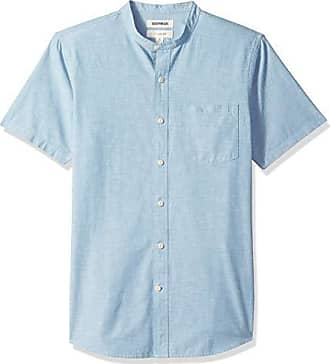Goodthreads Mens Slim-Fit Short-Sleeve Band-Collar Chambray Shirt, -blue, XXX-Large Tall