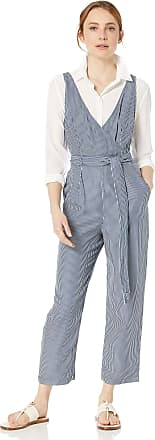 French Connection Womens Stripe Belted Jumpsuit, Indigo, 6