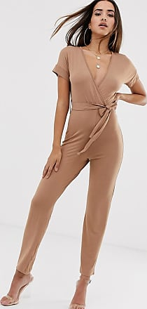 In The Style Wrap Front Jersey Jumpsuit-Tan