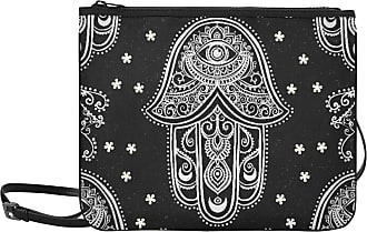 Yushg Casual Clutch Bag Ornament Card Hamsa Geometric Circle Element Adjustable Shoulder Strap Canvas Crossbody Tote Bag For Women Girls Ladies Best Handbag