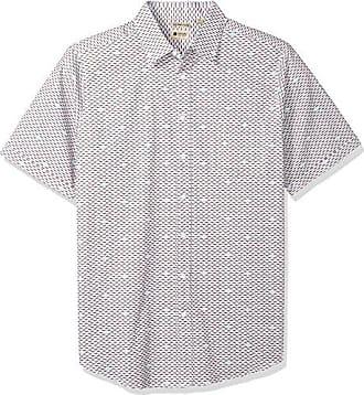 Haggar Mens Big and Tall Big/&Tall Short Sleeve Micrographic Prints Woven Shirt