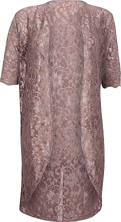 Purple Hanger Womens Floral Lined Lace Ladies Scallop Short Sleeve Long Open Kimono Cardigan Top Plus Size Mocha 22-24