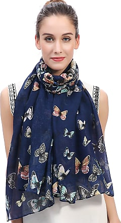 Lina & Lily Butterfly Print Womens Scarf Large Size (Blue)