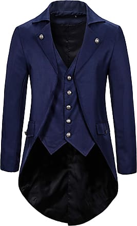 Whatlees Mens Steampunk Vintage Tailcoat Jacket Gothic Victorian Medieval Halloween Costume Coat Navy 02010291XNavy+L