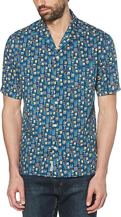 Original Penguin Mens Short Sleeve Printed Button Down Shirt, Deep Water, XL