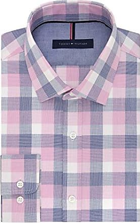 f7002c4d0 Tommy Hilfiger Mens Non Iron Slim Fit Buffalo Check Spread Collar Dress  Shirt, Dusty Pink