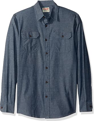 Wrangler Mens Authentics Long Sleeve Classic Woven Shirt Long Sleeve Button Down Shirt - Blue