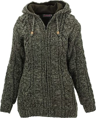 Loud Elephant Wool Cable Knit Hooded Jacket - Brown (Small)