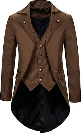 Whatlees Mens Steampunk Vintage Tailcoat Jacket Gothic Victorian Medieval Halloween Costume Coat Coffee 02010291XCoffee+XL