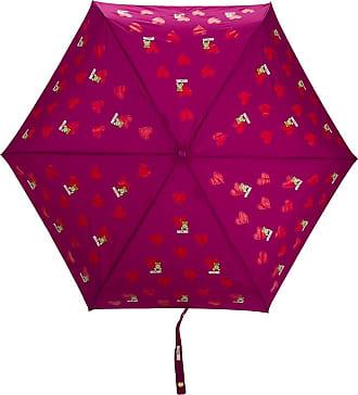 Moschino Ombrello con motivo a cuori - Di colore viola