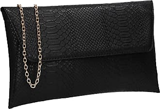 Swankyswans Remi Faux Leather Slim Snakeskin Effect Womens Party Prom Evening Clutch Bag Black