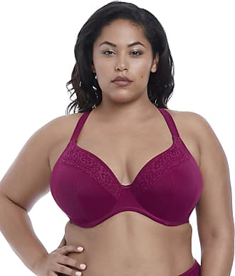 Elomi Womens Indie Crochet Underwire Plunge Multiway Bikini Top, 38E, Berry