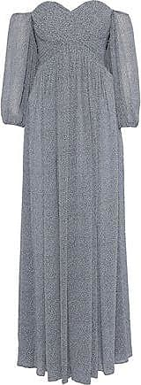 Halston Heritage Halston Heritage Woman Off-the-shoulder Pintucked Printed Georgette Gown Gray Size 6