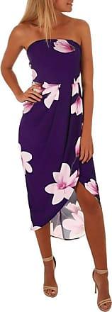 FNKDOR Newest Womens Evening Party Outing Dating Open Back Elegant Charming Off The Shoulder Boho Dress Lady Beach Summer Sundrss Maxi Dress(Purple,UK-14/CN-