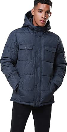 Threadbare Mens Bank Padded Jacket Casual Hooded Warm Puffer Downs Winter Coat, Navy XL