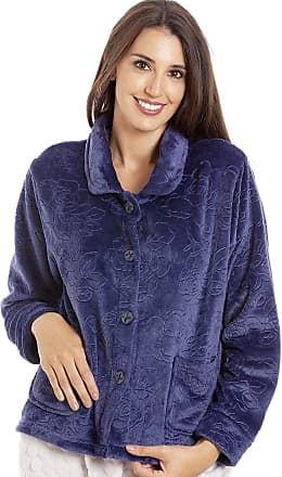 Camille Womens Button Up Rose Print Bed Jackets 10/12 Purple
