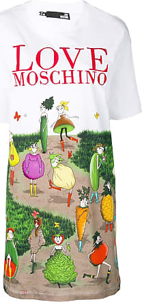 Love Moschino logo cartoon print dress - White