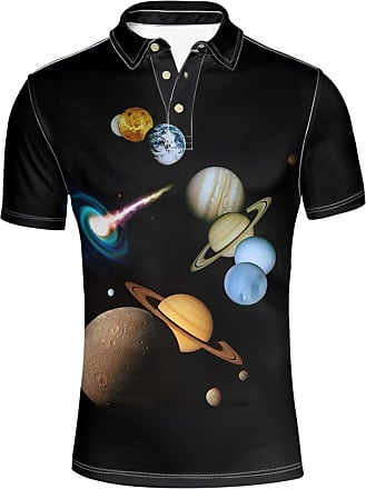 Hugs Idea Planet Print Mens Golf Sport Shirts Fashion Short Sleeve Casual Summer T-Shirts Tees