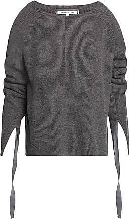 Helmut Lang Helmut Lang Woman Ribbed Wool And Cashmere-blend Sweater Dark Gray Size XS