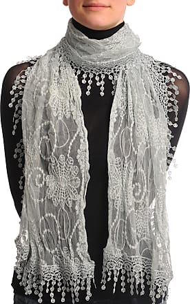 Liss Kiss Light Grey Vintage Lace With Flowers - Grey Designer Scarf