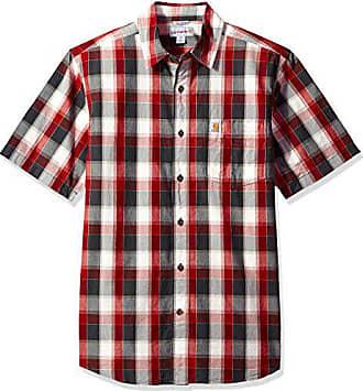 Carhartt Work in Progress Mens Essential Plaid Open Collar Short Sleeve Shirt, Dark Crimson, Small