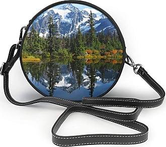 Turfed Snow Mountain Lake Print Fashion Round PU Crossbody Handbag Round Shoulder Bag For Women Girls