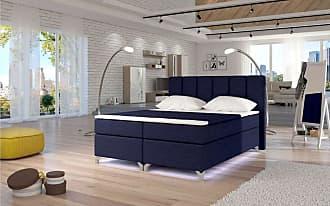 Stylefy Basilio LED Boxspringbett 165x205x126 cm Blau