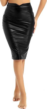 TiaoBug Womens PU Leather Pencil Skirt Slim Fit Elegant High Waist Midi Bodycon Office Skirts Black XXL
