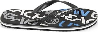 Urban Beach Mens Logo FW548 Beach Sandals Flip Flops Shoes (Size 6, Black)