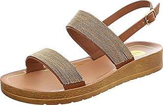 Ital-Design Riemchensandalen Damen-Schuhe Flach Riemchen Schnalle Sandalen    Sandaletten Camel, Gr 92844c95a4