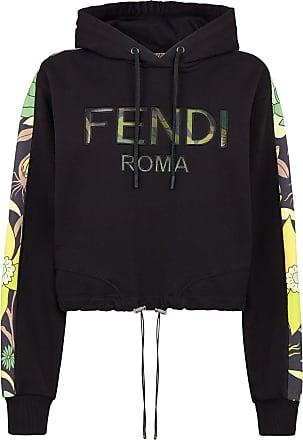 Fendi Moletom cropped com logo e capuz - Preto