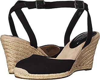7650936b8f Aerosoles Womens Martha Stewart Meadow Wedge Sandal, Black Fabric, 7 M US