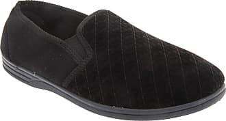 Zedzzz Mens Kevin Velour Twin Gusset Slippers (13 UK) (Black)