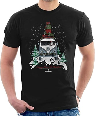 Volkswagen Driving Home Christmas Camper Mens T-Shirt Black