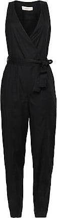 A.L.C. A.l.c. Woman Wrap-effect Belted Twill Jumpsuit Black Size 14