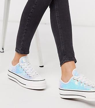 Converse Chuck Taylor Lift - Glitzernde Sneaker mit kleinen Pailletten und Plateausohlen in Silber