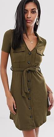 River Island utility mini shirt dress in khaki-Green