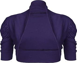Be Jealous Womens Open Front Plain Bolero Cardigan Shrug Top Purple Plus Size (UK 20/22)