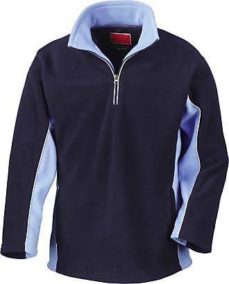 Result Tech3 Sports Sweatshirt Fleece 1/4 Zip, Color: Navy/Sky;Size: Xxl