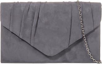 LeahWard Womens Suede Clutch Handbags Purse Wedding Bags 308 (Charcoal)