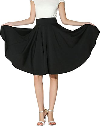 Yonglan Womens Vintage Basic High Waist Skirt Stretchy Flared Casual Skater Skirt Black L