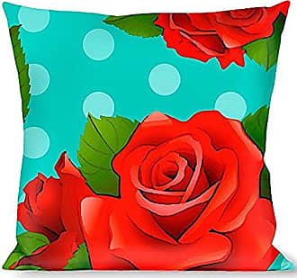 Buckle Down Pillow Decorative Throw Red Roses Polka Dots Turquoise